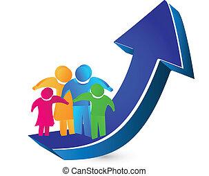 família, e, seta, sucesso, logotipo