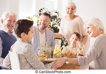 família, elogiar, menino