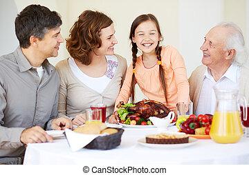 família, em, ação graças, tabela