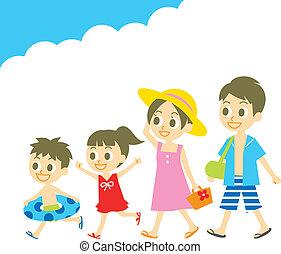 família, em, desgaste nadada, verão, vacatio