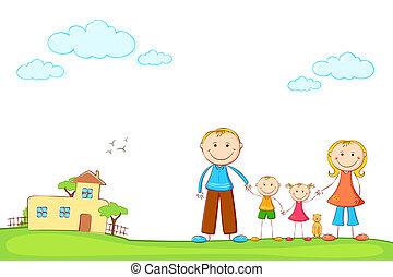 família, em, doce, lar