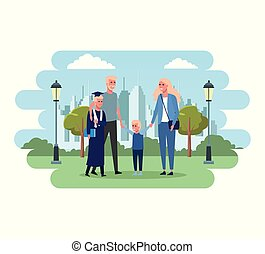 família, em, parque