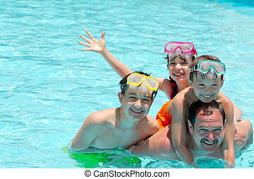 família, em, piscina