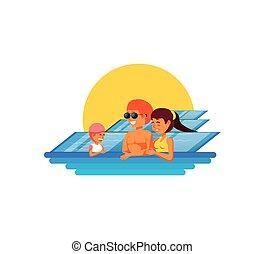 família, em, piscina, luxo, cena