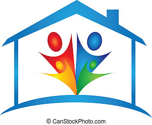 família, em, um, casa nova, logotipo, vetorial