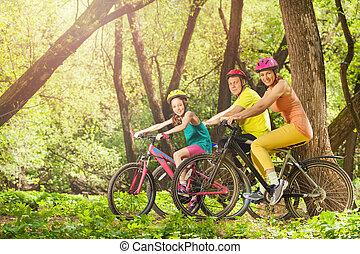 família, ensolarado, bicicletas, floresta, ativo, sorrindo