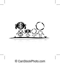 família, esboço, para, seu, desenho