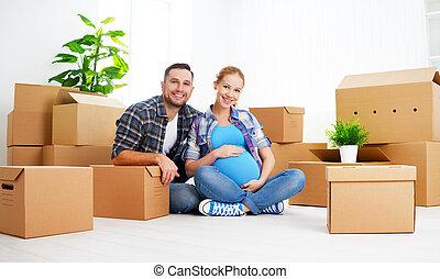 família, esposa, grávida, caixas, em movimento, novo, apartment., papelão, marido