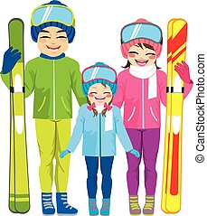 família, esquiando