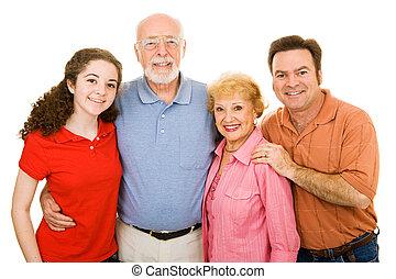família, estendido, sobre, branca