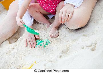 família, férias praia, closeup