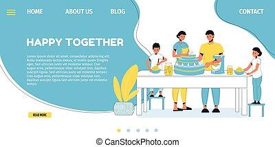 família, feliz, assando, página, bolo, modelo, aterragem