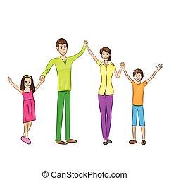 família feliz, braços levantados, cima, quatro pessoas