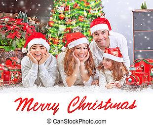 família feliz, casa, ligado, natal