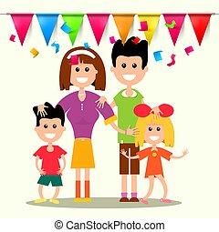 família feliz, com, bandeiras, e, confetti