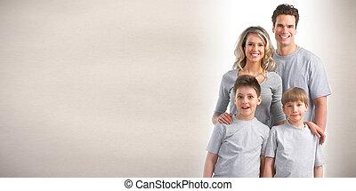 família feliz, com, crianças