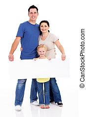 família feliz, com, junta branca