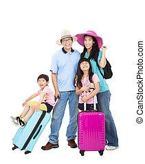 família feliz, com, mala, tomar, férias verão