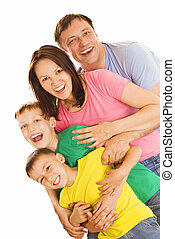 família feliz, de, quatro