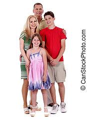 família feliz, de, quatro, standind, e, olhar, tu