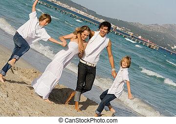 família feliz, grupo, ligado, férias verão