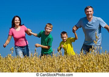 família feliz, ligado, a, natureza