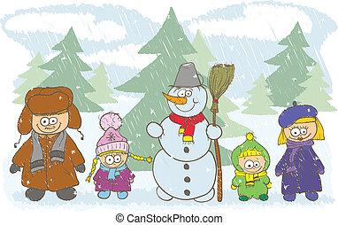 família feliz, ligado, férias inverno
