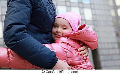 família feliz, momentos, -, mãe criança