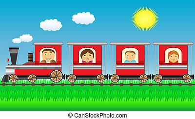 família feliz, mover-se dentro, trem, com, g
