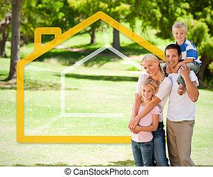família feliz, parque, com, casa