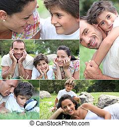 família feliz, relaxante, ao ar livre