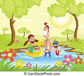 família feliz, respingue, em, piscina