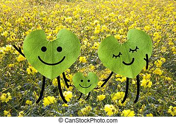 família feliz, segurando, hands., verde, meio ambiente, concept.