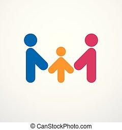 família feliz, simples, vetorial, logotipo, ou, ícone, criado, com, pessoas, geomã©´ricas, signs., proposta, e, protetor, relacionamento, de, pai, mãe, e, child.