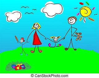 família feliz, sorrindo, junto