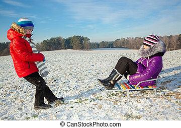família feliz, tendo divertimento, em, a, snow., irmão irmã, tendo divertimento, com, um, trenó, em, a, winter., crianças, tendo divertimento, em, a, inverno