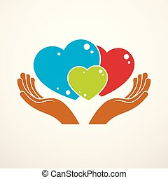 família feliz, vetorial, logotipo, ou, ícone, criado, com, três, coloridos, corações, de, diferente, tamanhos, e, cuidado, hands., proposta, e, amando, relacionamento, de, pai, mãe, e, child., junto, como, um, sistema, de, relations.