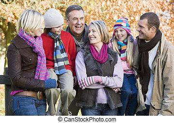família, focus), parque, ao ar livre, (selective, sorrindo