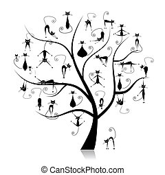 família, gatos, árvore, 27, pretas, silhuetas, engraçado