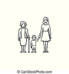 família, geração, mão, desenhado, esboço, icon.