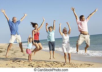 família, geração, três, ar, pular, retrato, feriado, praia