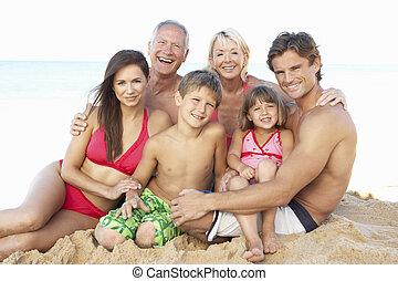família, geração, três, retrato, feriado, praia