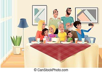 família, grande, jantar, vetorial, lar, feriado, caricatura