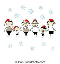 família, grande, junto, desenho, feliz, natal., seu, feliz