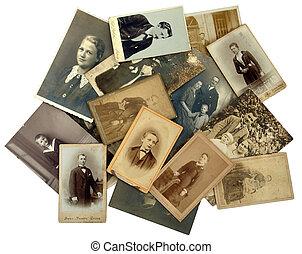 família, history:, pilha, de, antigas, fotografias