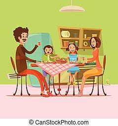 família, ilustração, refeição, tendo