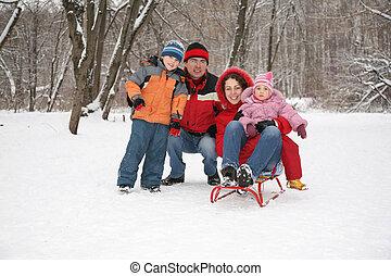 família, inforest, em, inverno