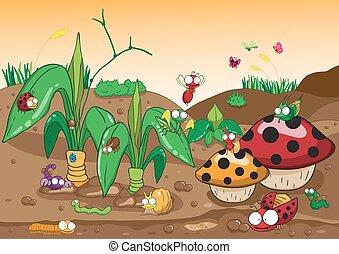 família, insetos, vecto, árvore., caricatura, chão