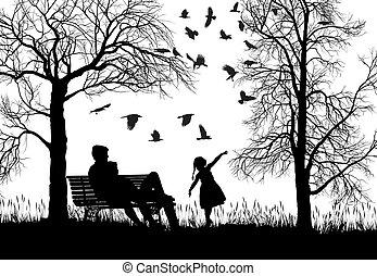 família jovem, em, outono, parque