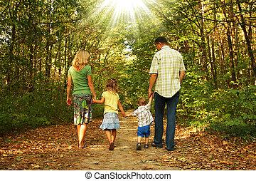 família jovem, natureza